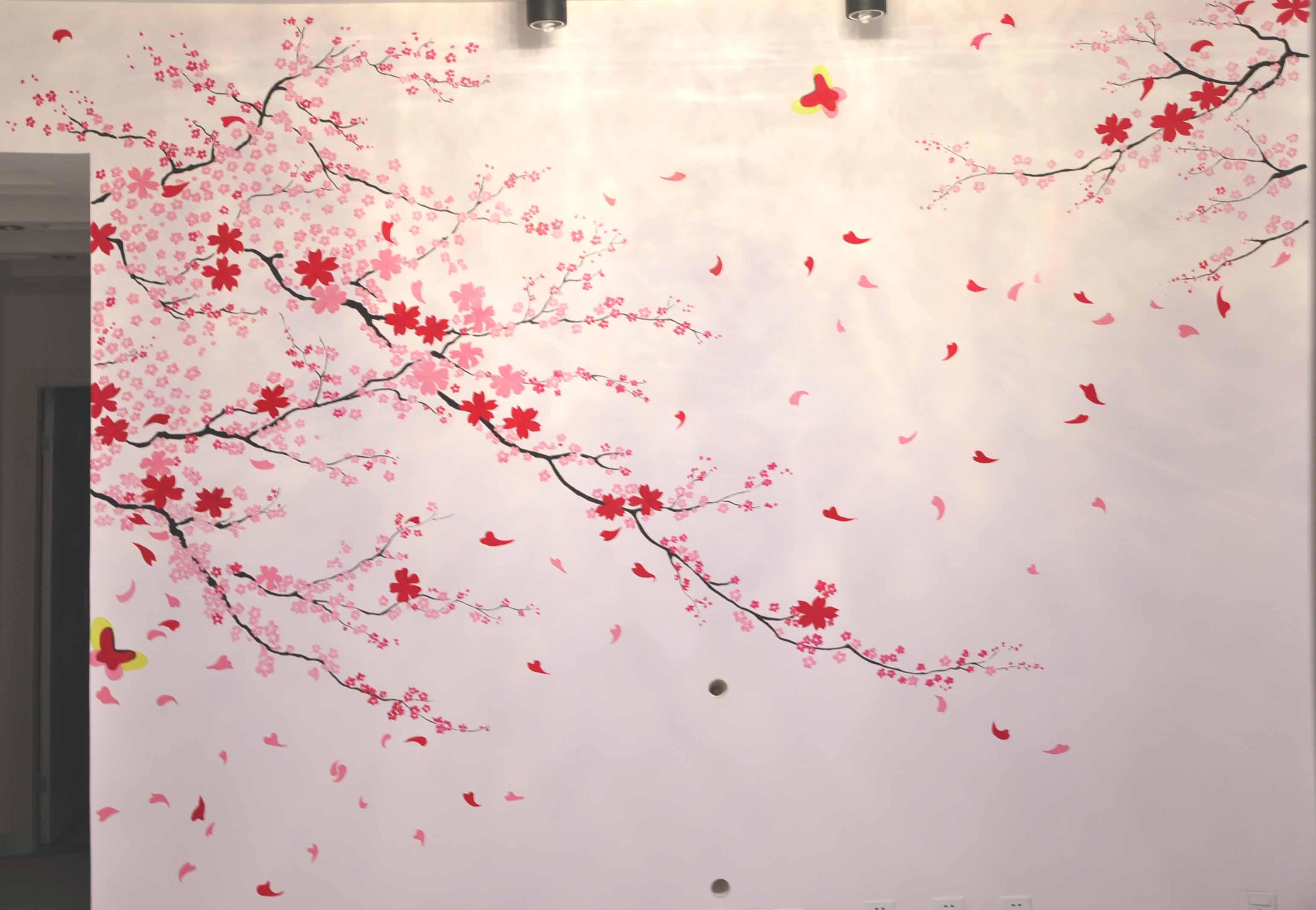 手绘樱花树教程