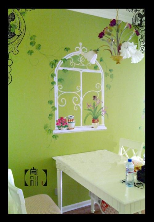 手绘墙128; 田园窗户