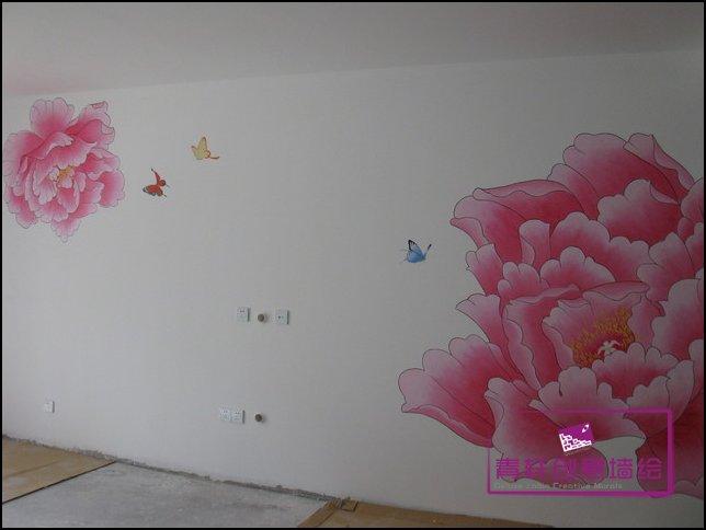 长沙墙绘-家装墙画花系列之牡丹-长沙墙绘,长沙手绘墙