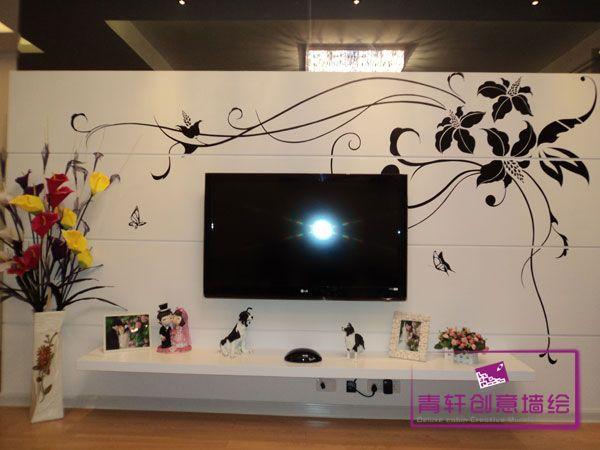 客厅电视背景墙--长沙墙绘