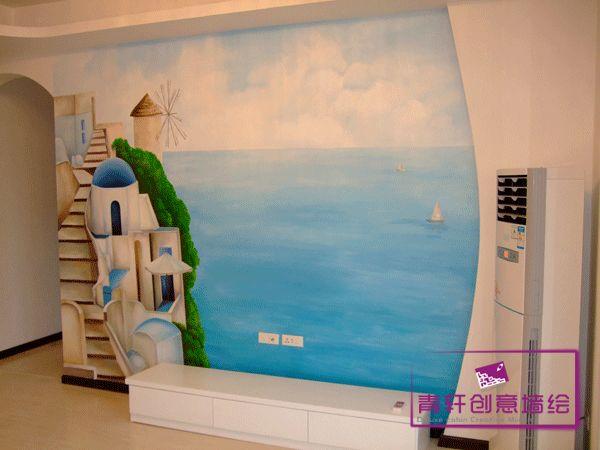 电视背景墙绘