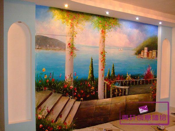 墙手绘电视机背景墙,长沙墙画  手绘墙画  墙画价格墙画素材专业墙绘
