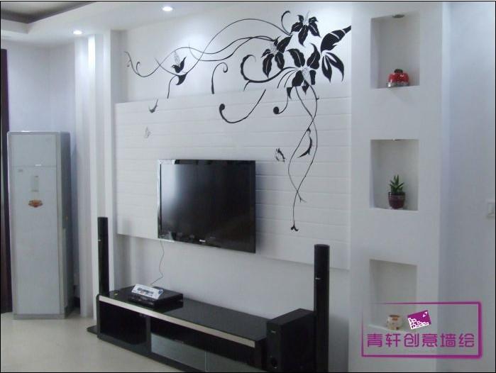 5,客厅墙绘-国画写意工笔类-单色线描类120-180元/m²,写意山水