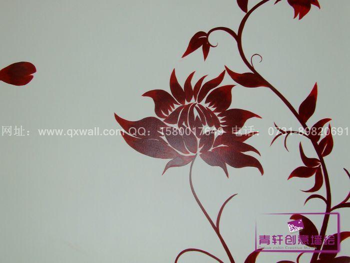 长沙青竹湖植基小区电视背景墙绘--长沙墙绘,长沙手绘