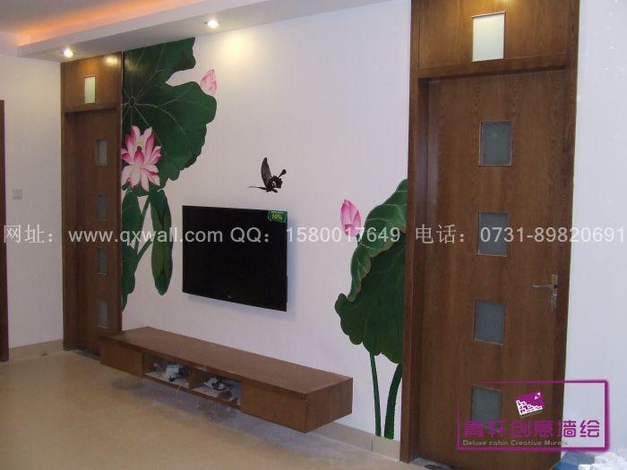 长沙墙体彩绘,长沙手绘公司,长沙墙绘公司,手绘背景墙 手绘电视机背景