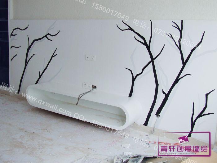 手绘背景墙 手绘电视机背景墙,长沙墙画,长沙无框画,长沙油画定制