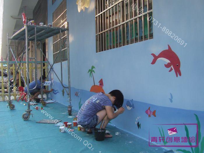 幼儿园墙面丙烯画海洋