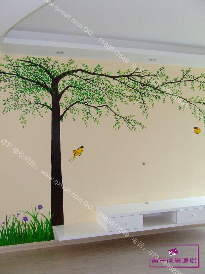 手绘墙绘树贴图;