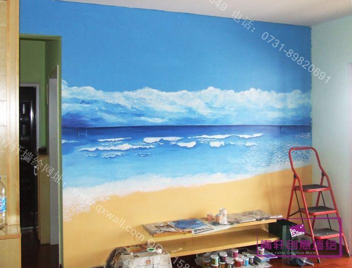 大海灯塔图片 墙绘