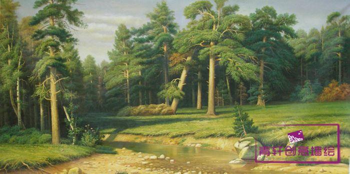 雅创品牌 《山林》纯手绘油画风景画无框画装饰画; 森林山水(28张)