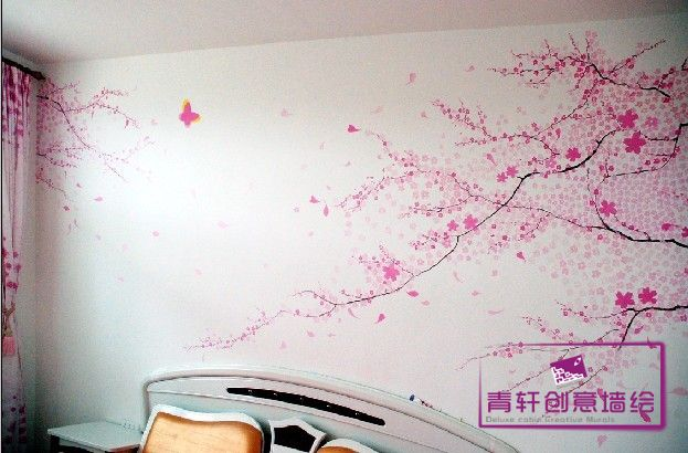 电视墙墙绘玫瑰花系列图片