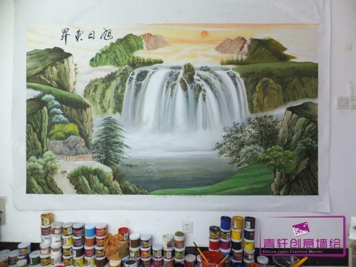 长沙鑫源投资担保有限公司办公室山水画--长沙墙绘,墙