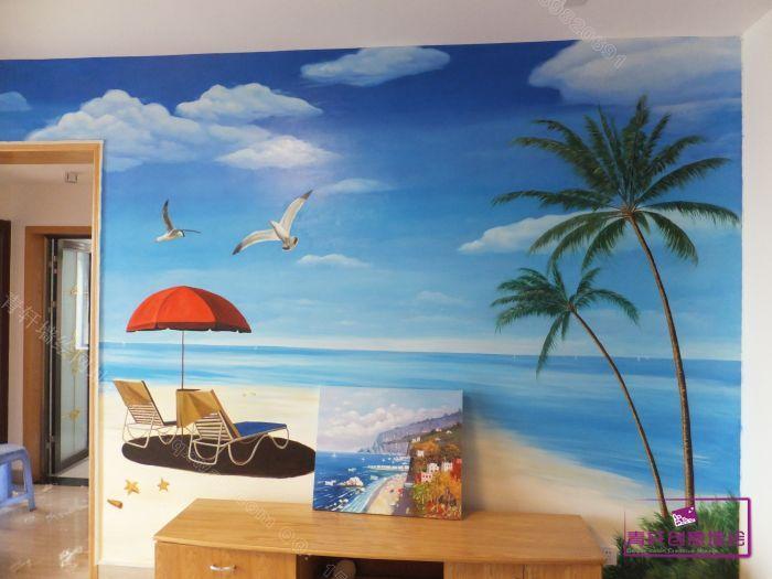 想通过墙绘来装饰电视背景墙,在我们设计师的 推荐下,选择了风景-海景
