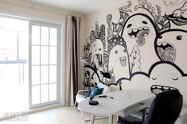 纯手工绘制墙体彩绘,个性的涂鸦图案,房间的气氛一直活力下去,图片