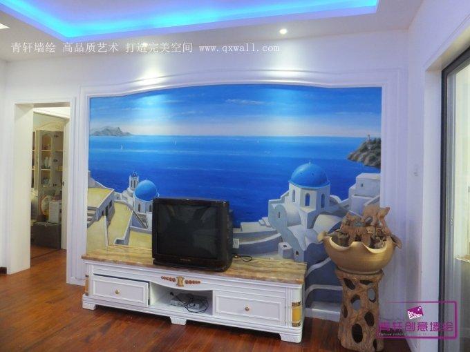 长沙童话里电视背景墙地中海风格墙绘和古典人物油画