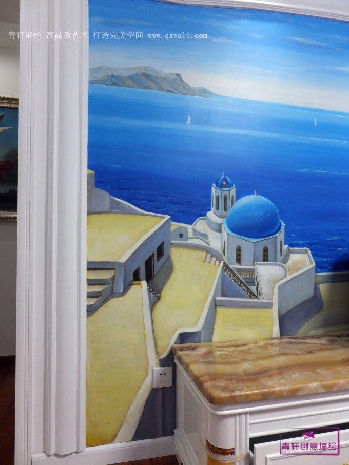 长沙童话里电视背景墙地中海风格墙绘和古典人物