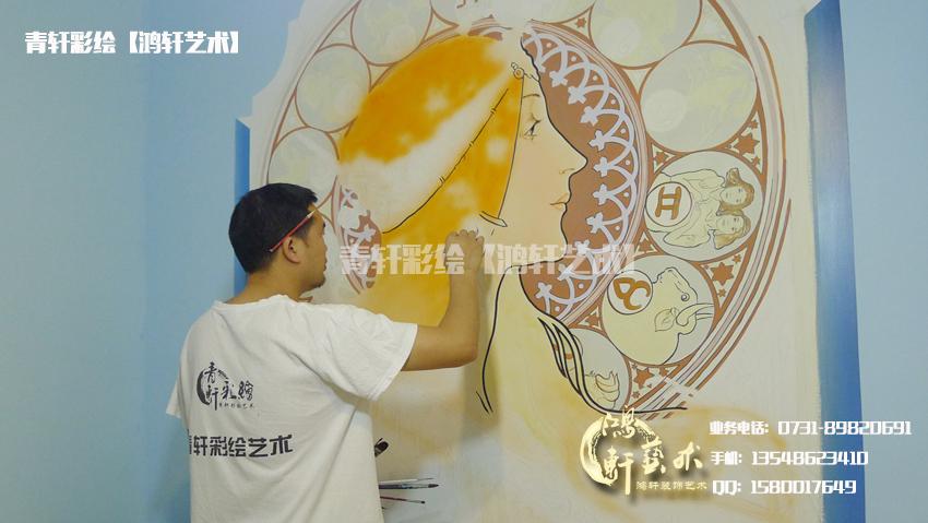 画家现场墙绘过程