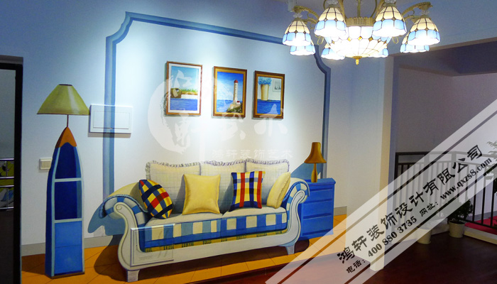 样板房彩绘客厅