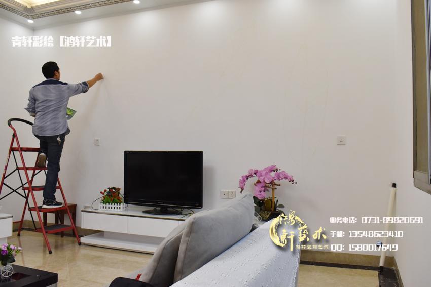 电视机背景墙墙绘   家装案例   长沙鸿轩装饰设计