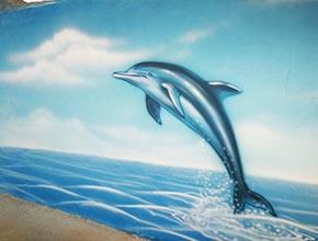 大型游乐园海景墙绘