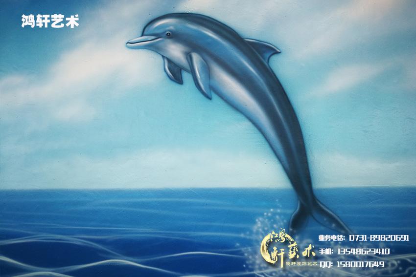 可爱的海豚墙绘