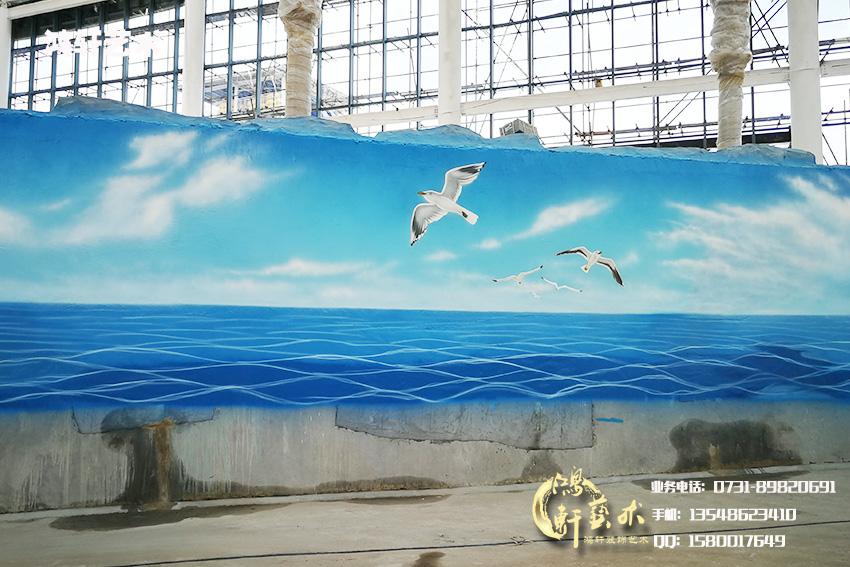 蓝天白云墙绘